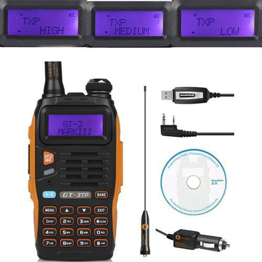 Baofeng GT-3TP MarkIII TP 1/4/8Watt High Power Dual-Band 2M/70cm Ham Two-way Radio Walkie Talkie + Programming Cable&CD(China (Mainland))