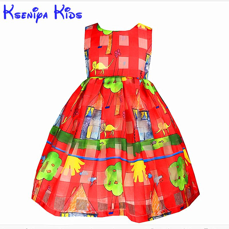 2016 New Brand European Style Cartoon Dress For Kid Girl Clothing Children Beautiful Dresses Princess Sleeveless 2-10y Zk0703(China (Mainland))