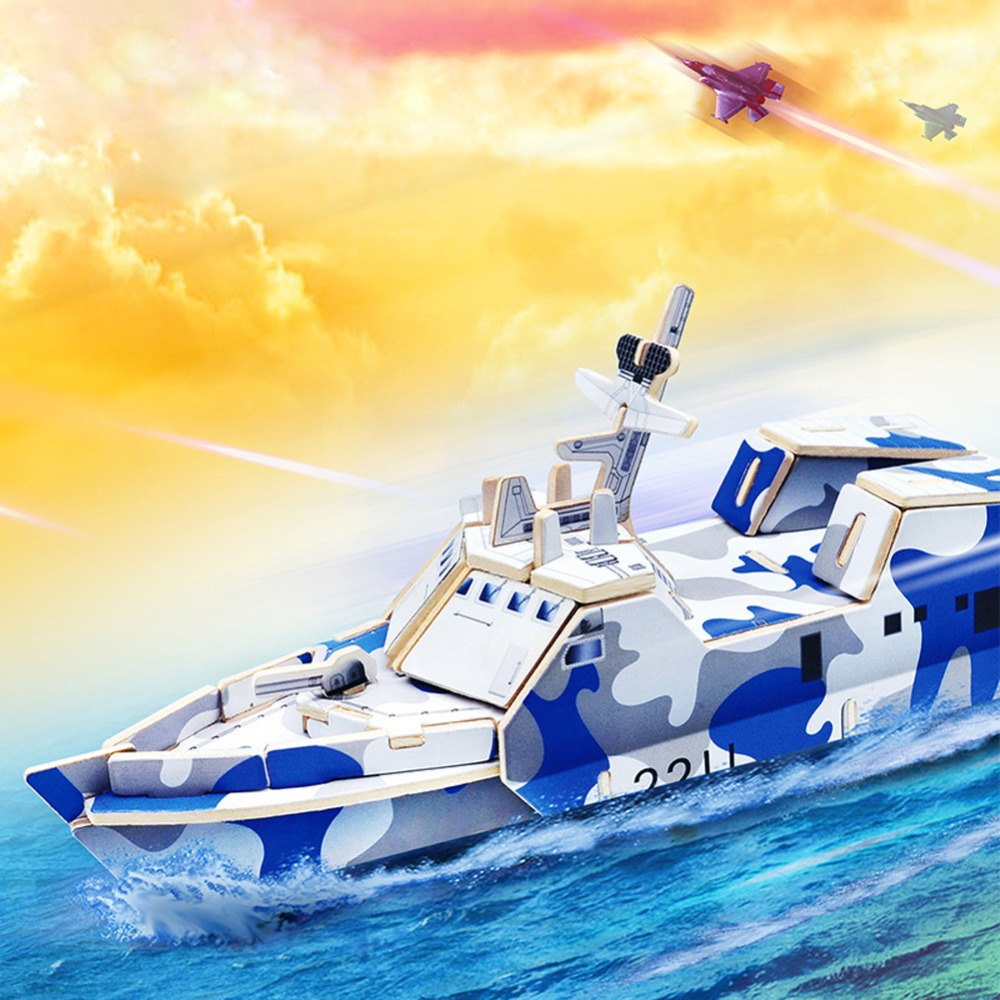 3D wooden puzzle toy children's educational wooden toys military large ship model wooden toy wood puzzle rompecabezas(China (Mainland))