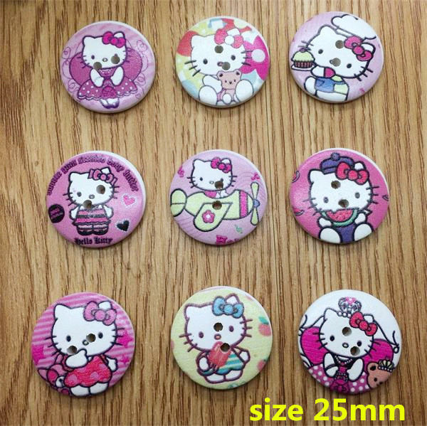 Free shipping mixed 45 pcs 9 styles 2-hole Hello Kitty Printed Wooden button Sewing Scrapbooking Crafts accessory(China (Mainland))