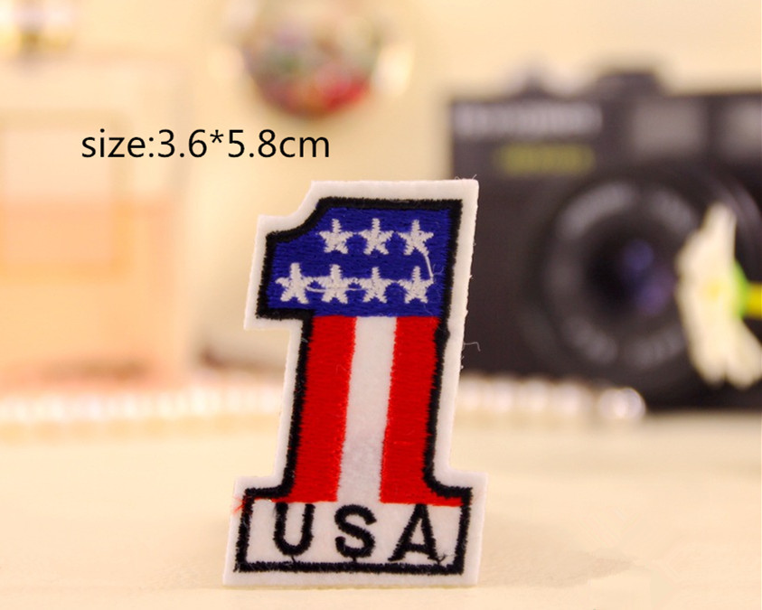 free shipping 10 pcs 3.6*5.8cm number 1 Embroidered iron on patch Motif Applique garment embroidery cartoon patch DIY accessory(China (Mainland))
