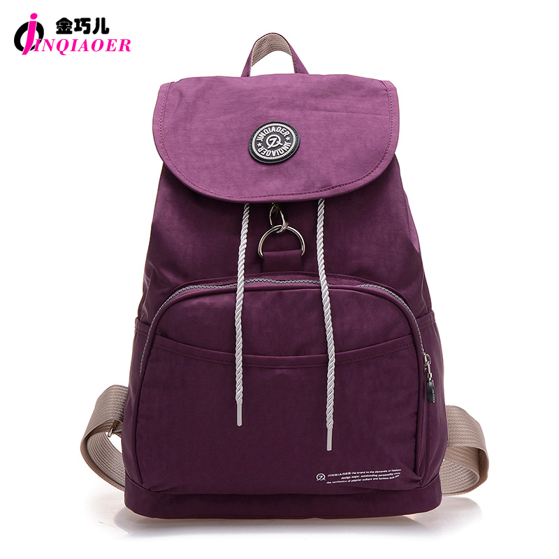 JINQIAOER Brand Nylon Backpack Waterproof Women Knapsack Drawstring String Girl Student School Bag Laptop Mochilas - Anny Boutique Store store