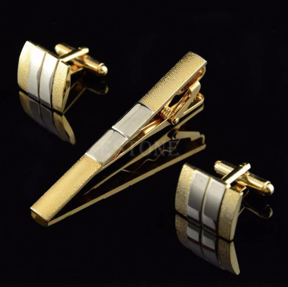 Free Shipping Men Metal Necktie Tie Bar Clasp Clip Cufflinks Sets Gold Simple Party Gift(China (Mainland))