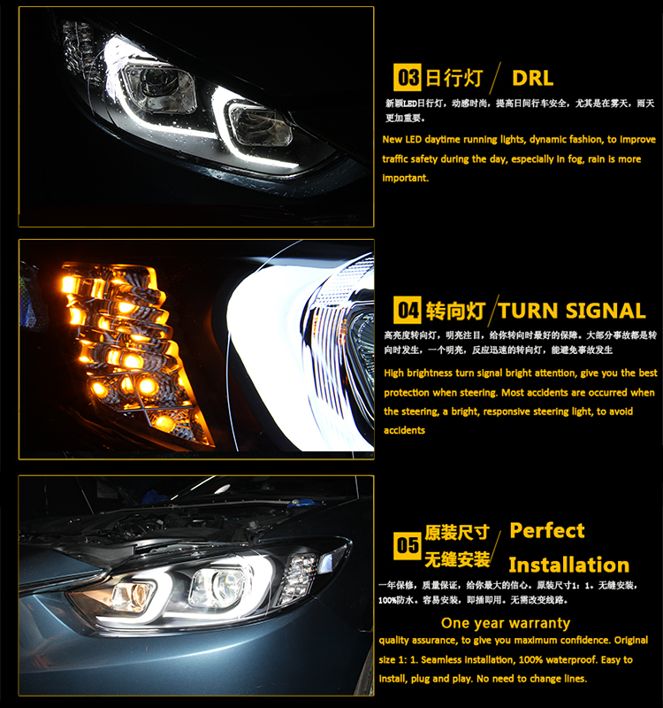 Auto Clud Style LED Head Lamp for Mazda 6 led headlights 2015 new Mazda6 headlight led drl H7 hid Q5 Bi-Xenon Lens low beam