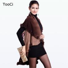 2015 New Winter Autumn Rabbit Fur Coat Women Cardigan Knitted Plus Size Wool Poncho  Cardigan Women Floral Sweater(China (Mainland))