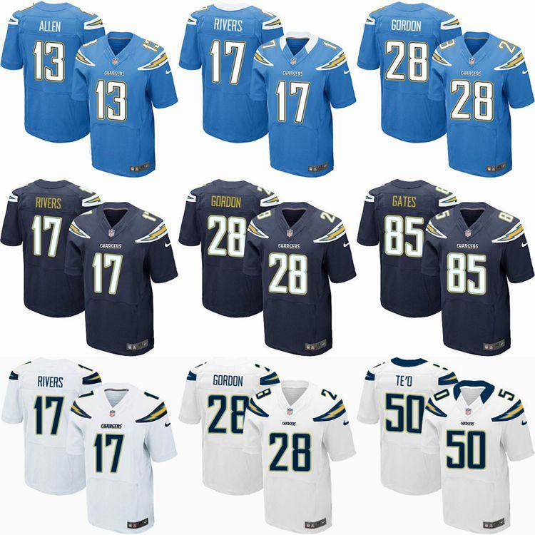 2016 elite Men San Diego Chargers,17 Rivers, 28 Melvin Gordon,85 Antonio Gates,50 Manti Te'o,Navy Blue White, 100% stitched logo(China (Mainland))