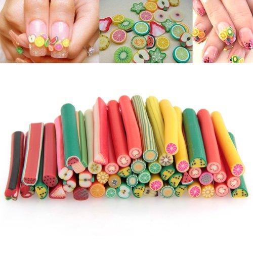 Best sale 50pcs fruit fruit nail art fimo canes for 3d nail art fimo canes rods decoration