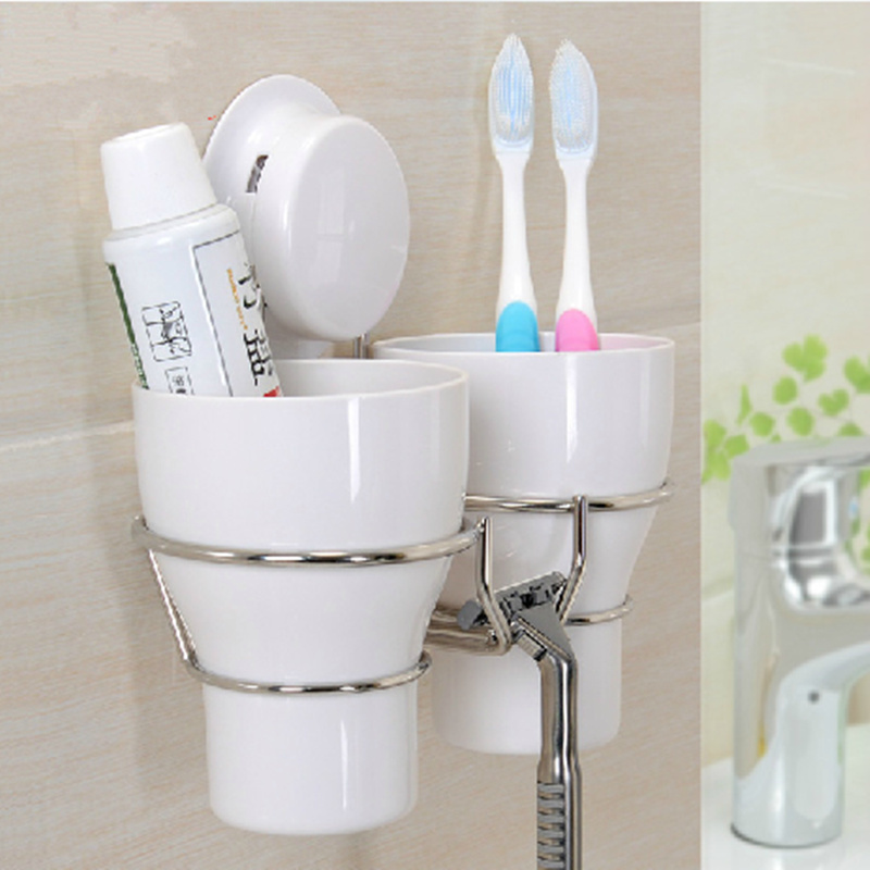 Stainless steel wall toothbrush holder set 2 wash tooth for Full bathroom sets