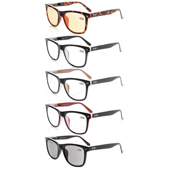 R080 Mix 5-pack Readers Square Large Lenses Spring-Hinges Reading Glasses Men+0.5/0.75/1.0/1.25/1.5/1.75/2/2.25/2.5/2.75/3/3.5/4
