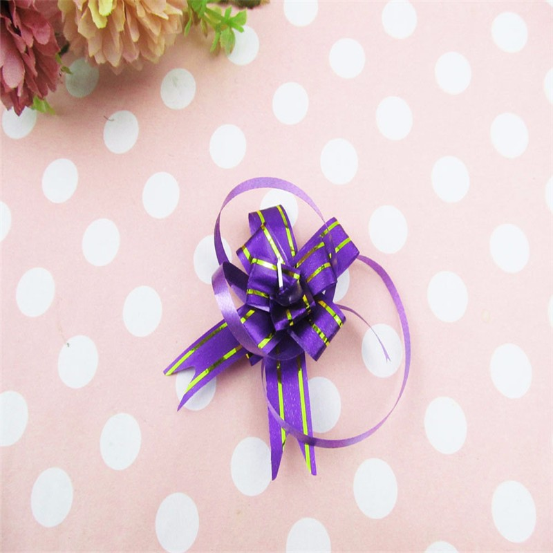 10PCS Multipattern Wrap Color Pull Bow Flower Wedding Birthday Party Decor Holiday Pull Flower Ribbons 1.2cm