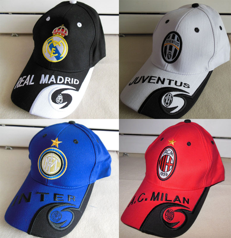 Wholesale New Brand Soccer Club Badge Real Madrid Baseball Cap Hat White-Black Sport Peaked Cap Football Fans Hat Souvenirs(China (Mainland))