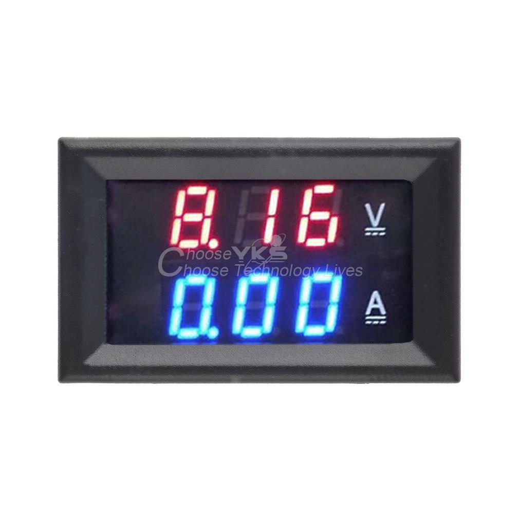 Гаджет  DC 100V 10A Voltmeter Ammeter Blue Red LED Amp Dual Digital Volt Meter Gauge YKS None Инструменты