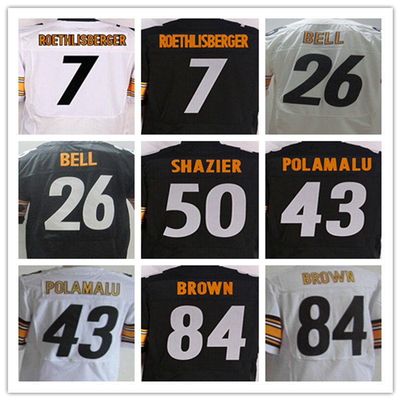 Dos homens 7 Ben Roethlisberger 25 artie burns 26 Le'Veon Sino 43 Troy Polamalu 50 Ryan Shazier 84 Antonio Brown elite jerseys(China (Mainland))