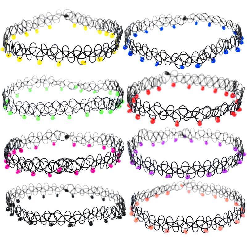 Hot 2016 Designer Jewellery 1PC Tattoo Choker Stretch Necklace New Black Retro Elastic Boho Beads Decor(China (Mainland))