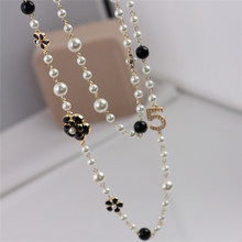 Buy Brand New Fashion Long Strands Necklace Women Sweater Chain Multi-layer Flower Pearl Female Necklaces Pearl jewelry Gift for $7.79 in AliExpress store