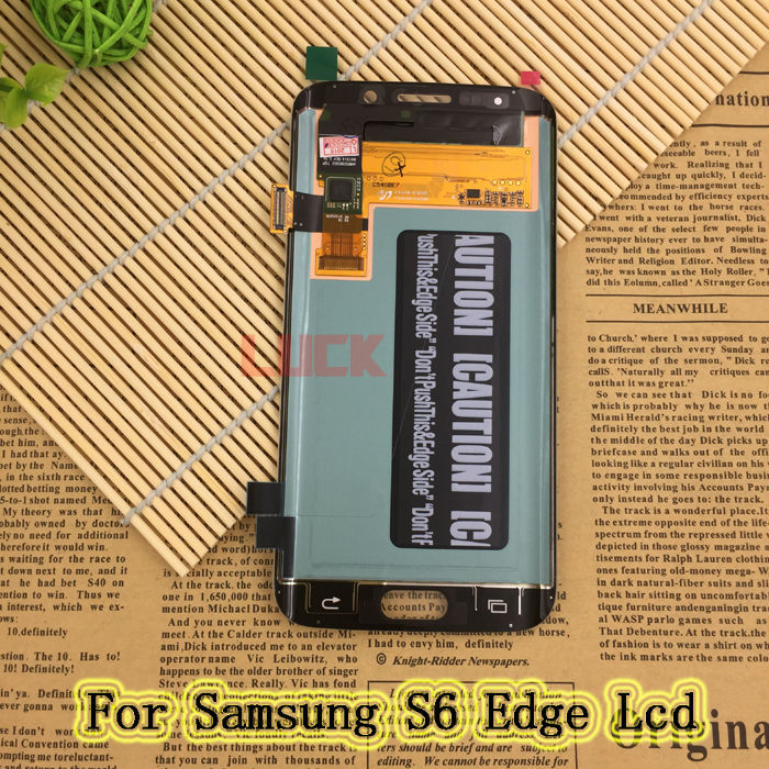 for Samsung Galaxy S6 Edge LCD Display Touch Screen Digitizer Assembly Replacement G925A G925F G925I G925P White & Blue & Gold(China (Mainland))