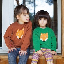 2016 new papupar fox face super cute children knit sweater kids clothing wholesale
