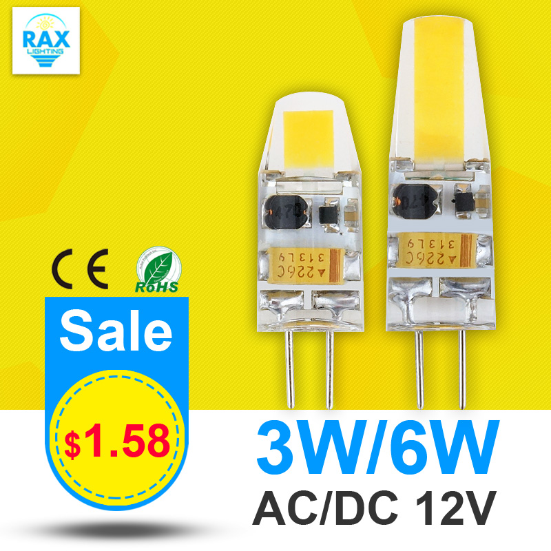 6X Dimmable G4 COB LED Lamp 3W 6W AC/DC 12V Mini LED G4 COB Bulb Light Replace Halogen Crystal Chandelier Lights Lampadas LED(China (Mainland))