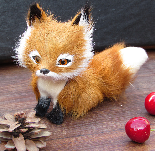 simulation fox large head brown fox toy 12x8cm fur model home decoration gift h1406(China (Mainland))