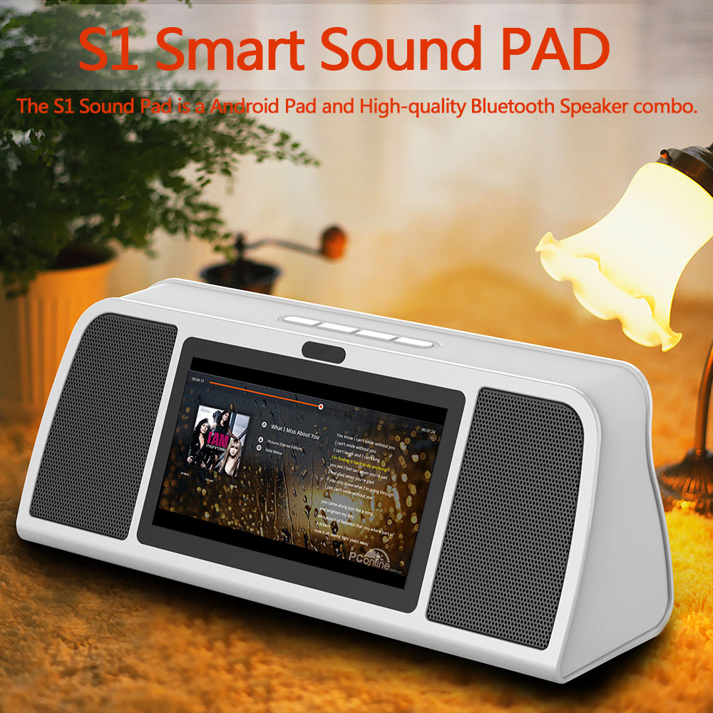 "Smart Sound PAD Android RK3128 Quad-core 1G/8G 7""Touch Screen HiFi Wireless Speaker Smart Media Player WiFi Bluetooth w/Camera(China (Mainland))"
