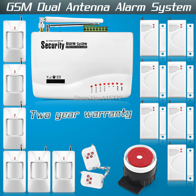Free shipping!Wireless GSM Alarm System Dual Antenna Home Voice Security Tri-band Antenna with Russian Manual PIR Motion Sensor
