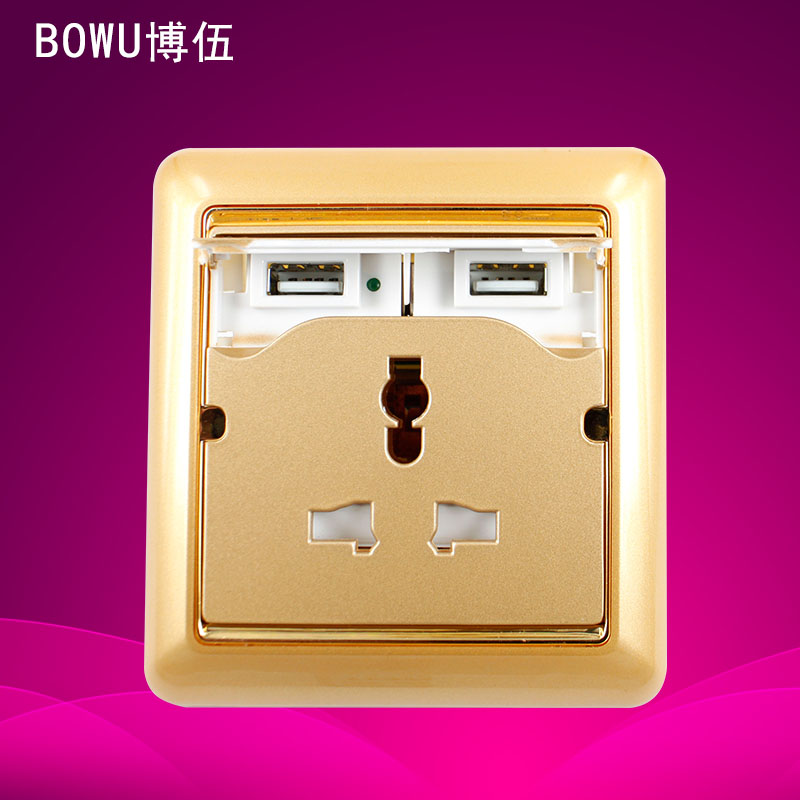 Brand New Household EU US 2 USB Port Universal Wall Face Plate Outlet Panel Power Supply Socket Plug Switch Charger(China (Mainland))