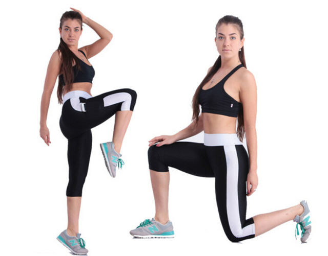 1Pcs 2 Цветs Женщины Stretch Comfy Running Sport Брюки High Талия Cropped Leggings ...