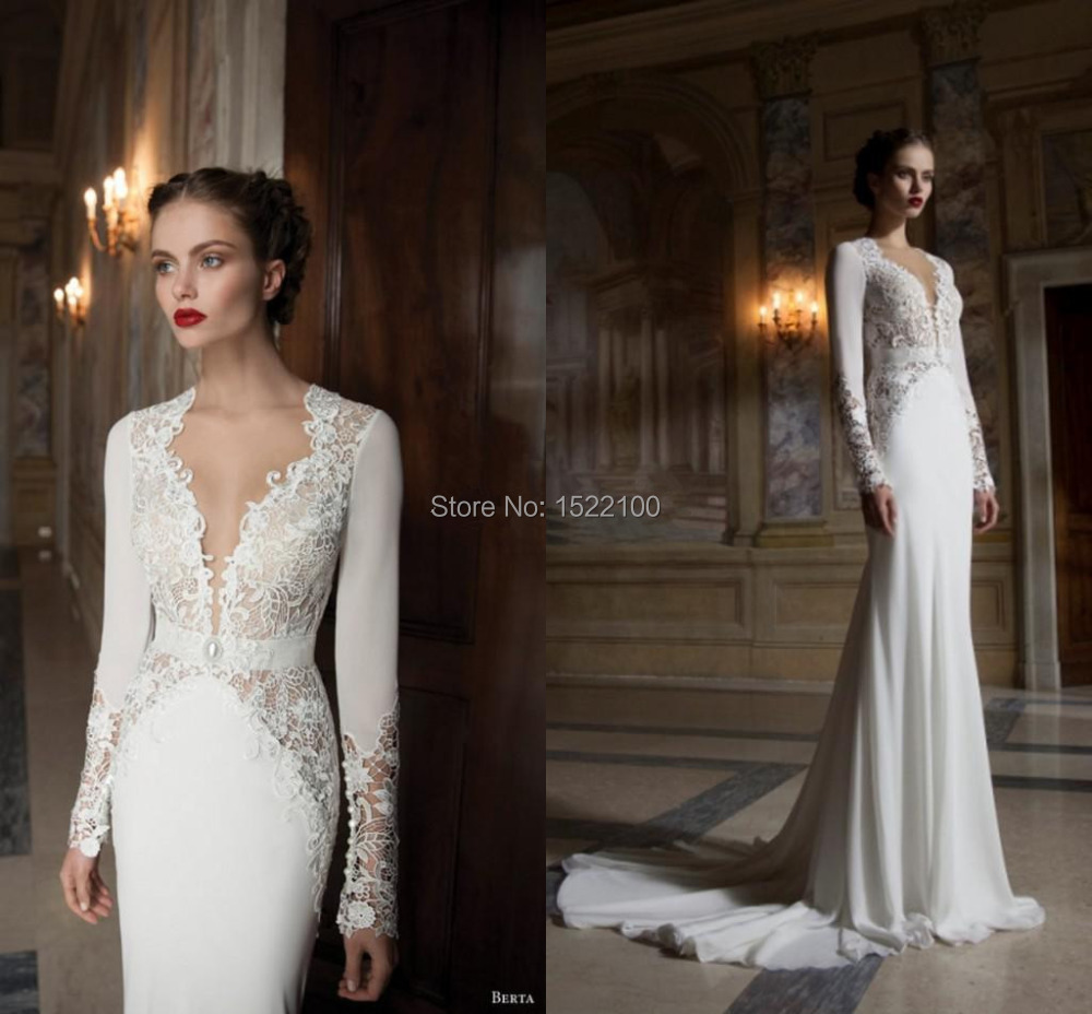 New classic long sleeve v neck lace chiffon sheath wedding for Modern long sleeve wedding dresses