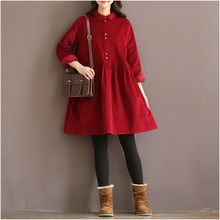 high quality vintage corduroy long sleeve peter pan collar mori girl wine red dress autumn winter women dress vestidos femininos(China (Mainland))