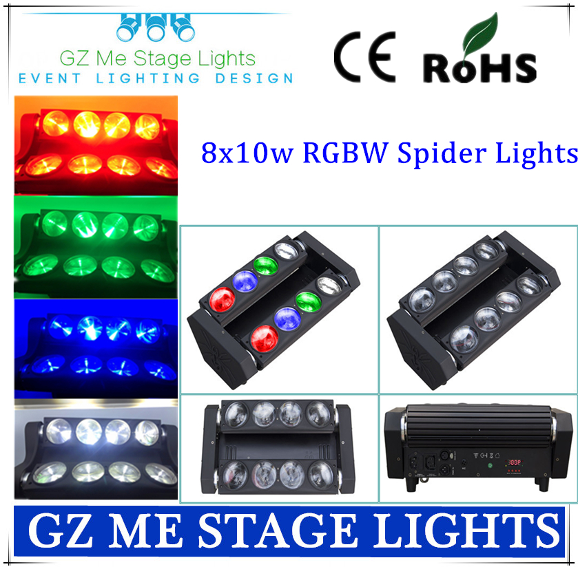 Best Price 8x10W RGBW 4IN1 Led Spider Moving Beam Light DMX Led Spider Light 3 Degree Beam Angle Led Spider Lights(China (Mainland))