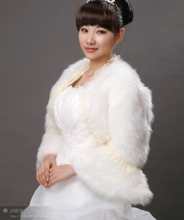 Ivory Faux Fur bridal jacket bridal shawl Wedding Bridal Wrap/Jacket/Shawl(China (Mainland))