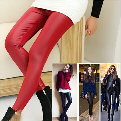 Cotton Flax was thin matte leather  2014 new large size women outer wear tight leather pants pants feet(China (Mainland))