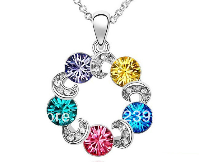 2013 New Fashion Jewelry Delicate Enchanting Mysterious Color Circle Crystal Pendent Necklace Free shipping