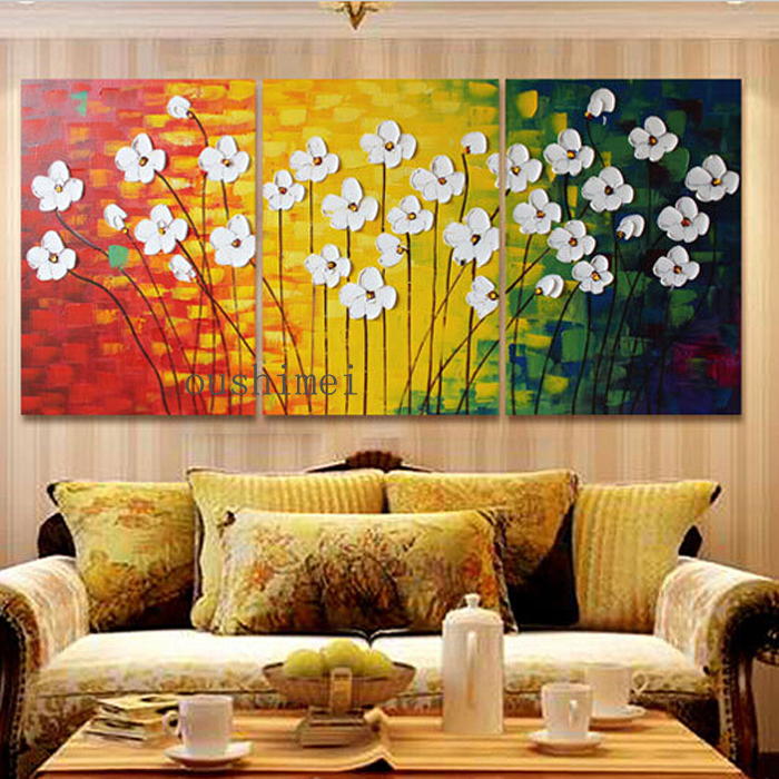 Handmade modern oil painting on canvas abstract flowers for Wall art paintings for living room