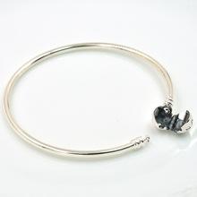 Authentic 925 Sterling Silver Charm Bracelet Bangle Original Clip Clasp Charm Bead DIY Fits Pandora Charms Bracelet Jewelry(China (Mainland))