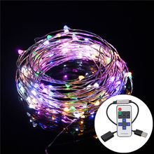 10M 33FT Copper Wire 5M USB 5V LED String Christmas Lights RGB LED Holiday Light With RF Controller For Christmas Decoration(China (Mainland))