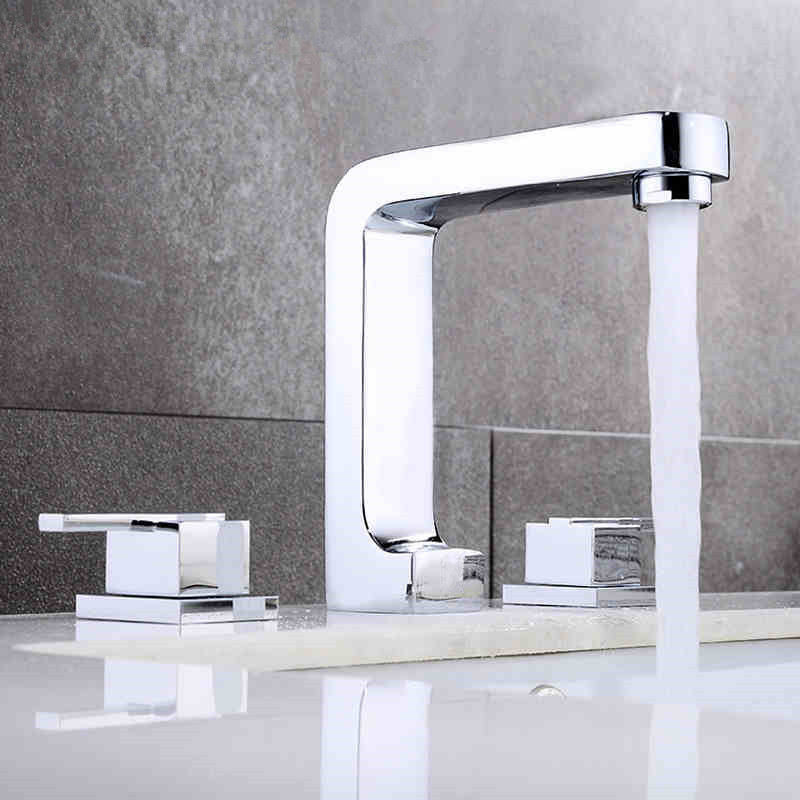 2016 WHOLESALE NEW ARRIVAL CUBE BATHROOM 3 BASIN SINK VANITY TAP SET WATER TAPS FAUCET(China (Mainland))