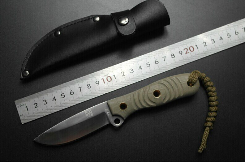 2015 Straight knife D2 Steel of High Hardness Camping Knife Survival Knife Fixed Blade with Leather Sheath(China (Mainland))
