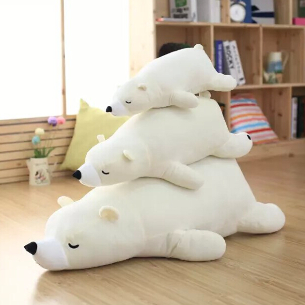 Super cute soft cartoon plush white/ brown sleeping polar bear toy doll pillow, creative birthday and education gift for child(China (Mainland))