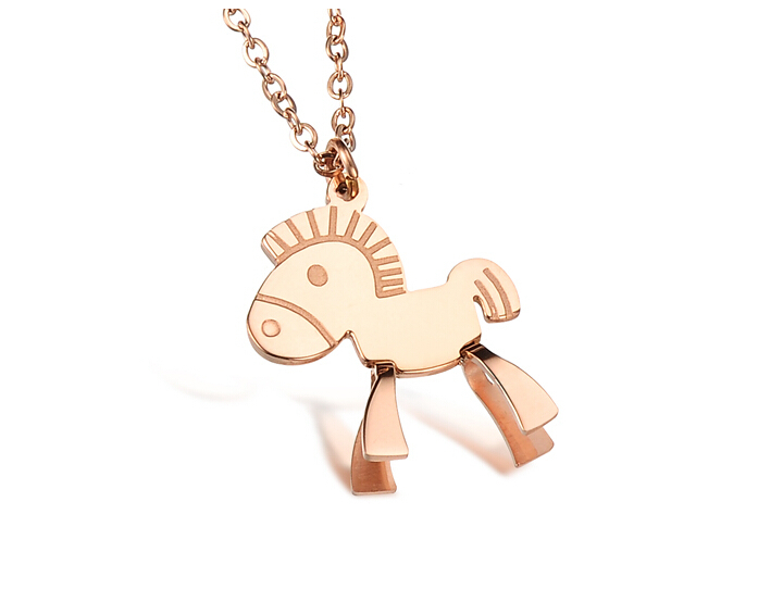 2015 Fashion Jewelry Exquisite Rose Gold Small Horse Cute Necklace & Pendant Womens Stainless Steel YS186-2 - Shenzhen Yonsin Technology Co.,Ltd store