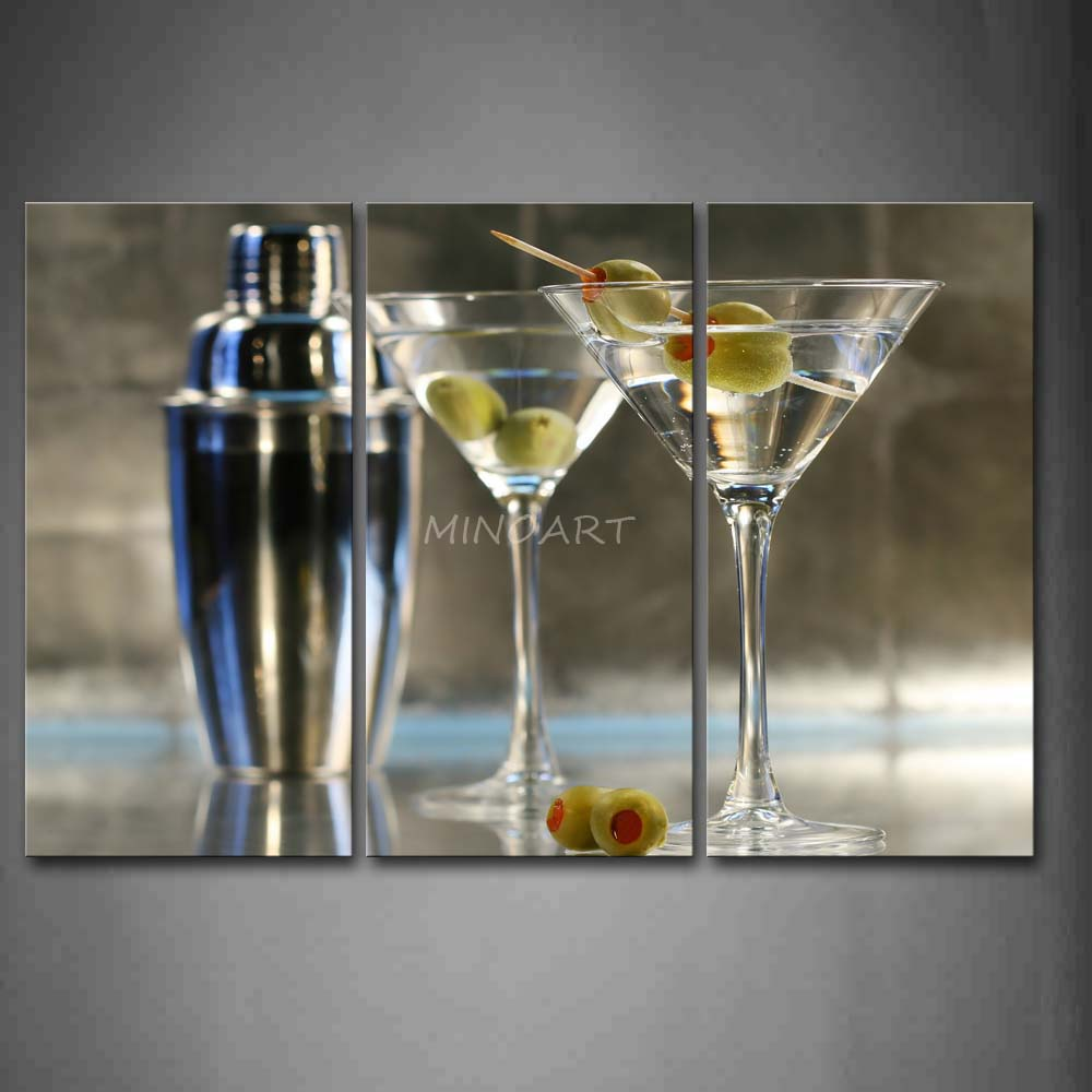 3 piece wall art painting cocktail with glasses and for Wall decor wine bottles