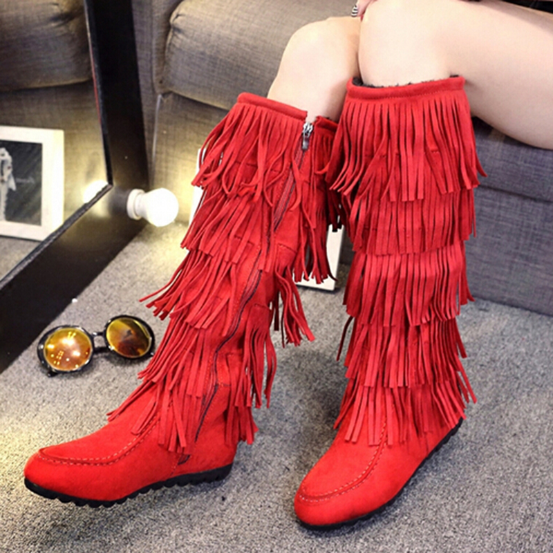 Nubuck Leather Round Toe Pull On Layer Half Spring Autumn Flat Heel Personality Youth Long Canister Women Black Fringed Boots<br><br>Aliexpress