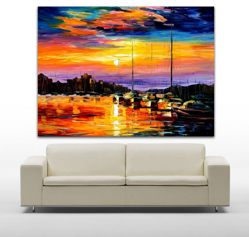 Hand Painted Palette Knife Oil Painting Sail Boat Painting Impressionists Paintings Canvas Wall Art for Living Room Home Decor(Hong Kong)