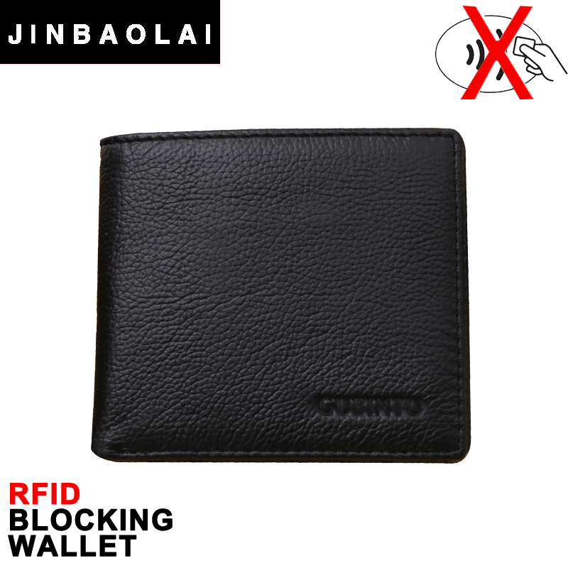 RFID Blocking Wallet JINBAOLAI Famous Brand Genuine Leather RFID Men Wallet Protection Card Holder Purse Male Wallets carteras(China (Mainland))