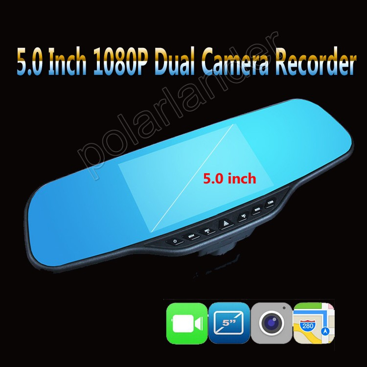 5.0 inch Screen Dual Camera car video recorder DVR rearview mirror night vision front 170 and back 120 degree wide angle