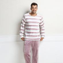 Qianxiu  Fashion Soft Fabric Classic Stripes Long-sleeve pants Pajama set For Men Women Couples Lovers homewear sleepwear(China (Mainland))