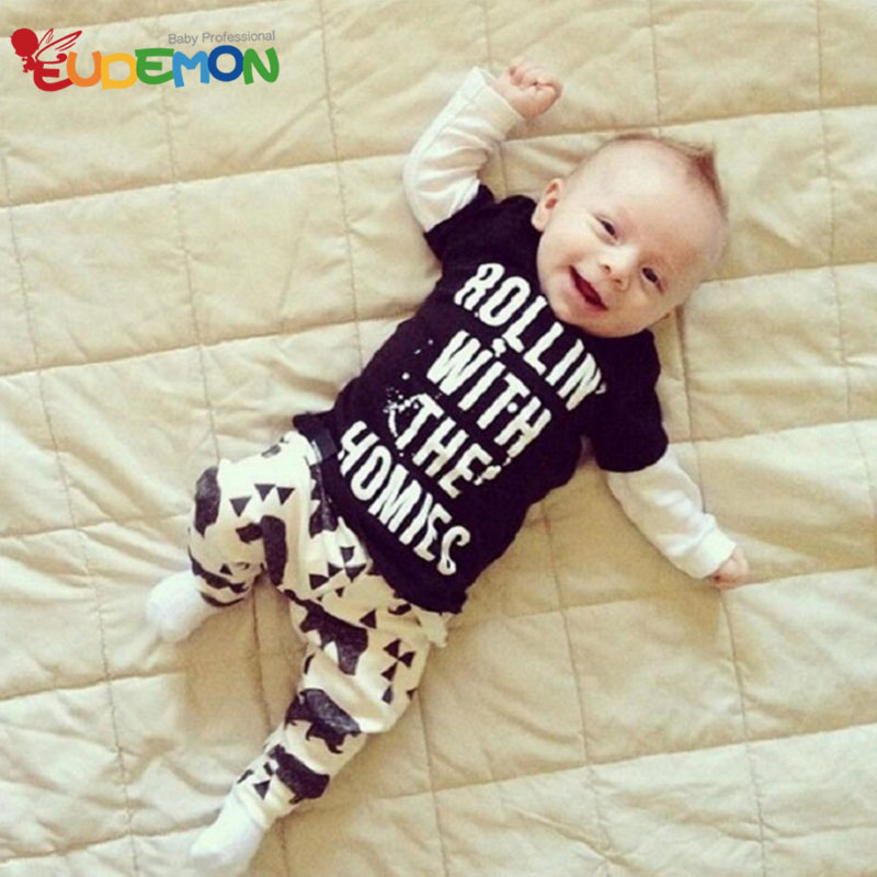[Eudemon] Baby Clothing Sets character Letter baby boy clothes children's Long Sleeve Black O-Neck T Shirt + Baby Pants(China (Mainland))