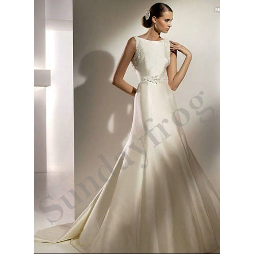 Freeshipping best selling off shoulder satin a line gown for Butterfly back wedding dress