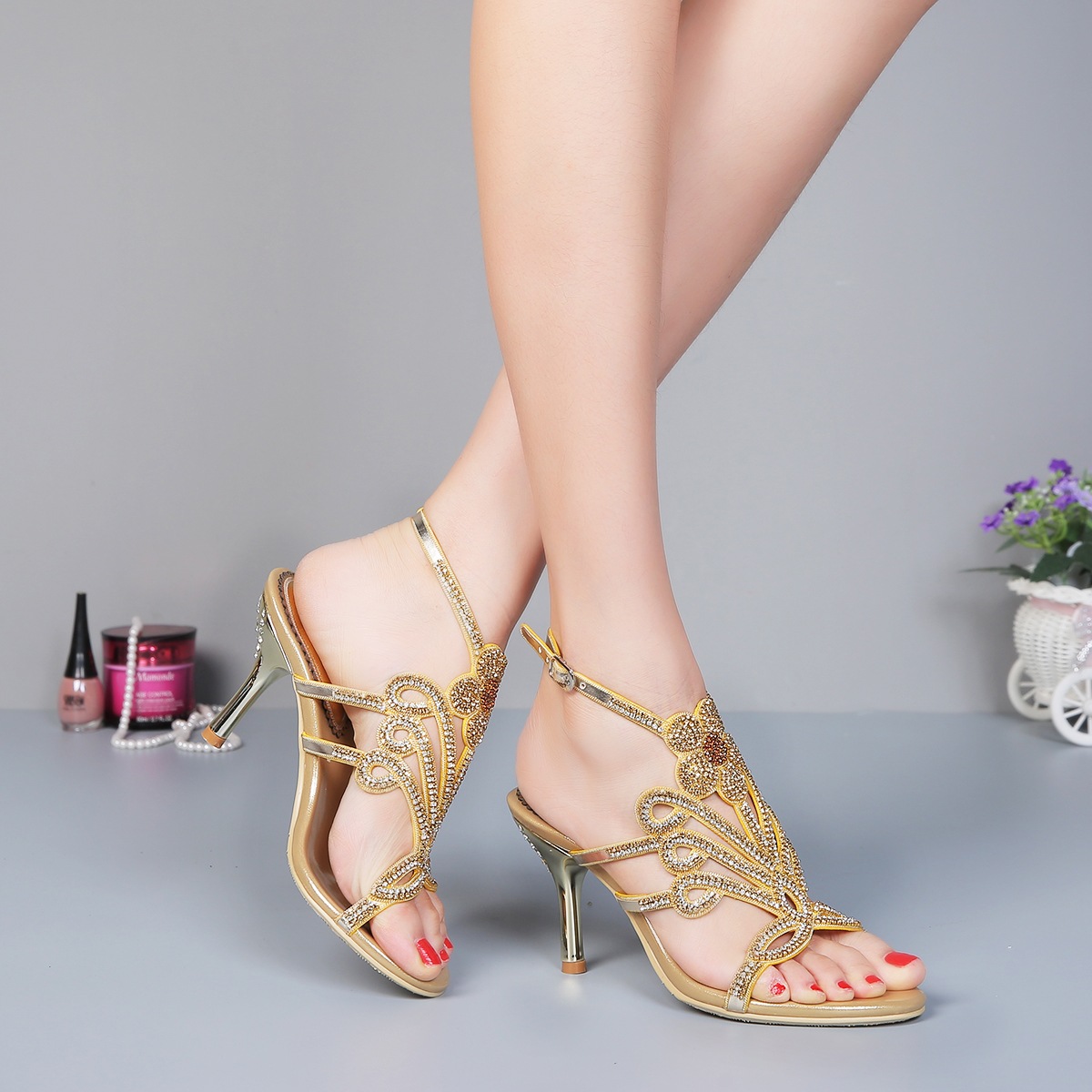 Gold Strappy Heels For Wedding