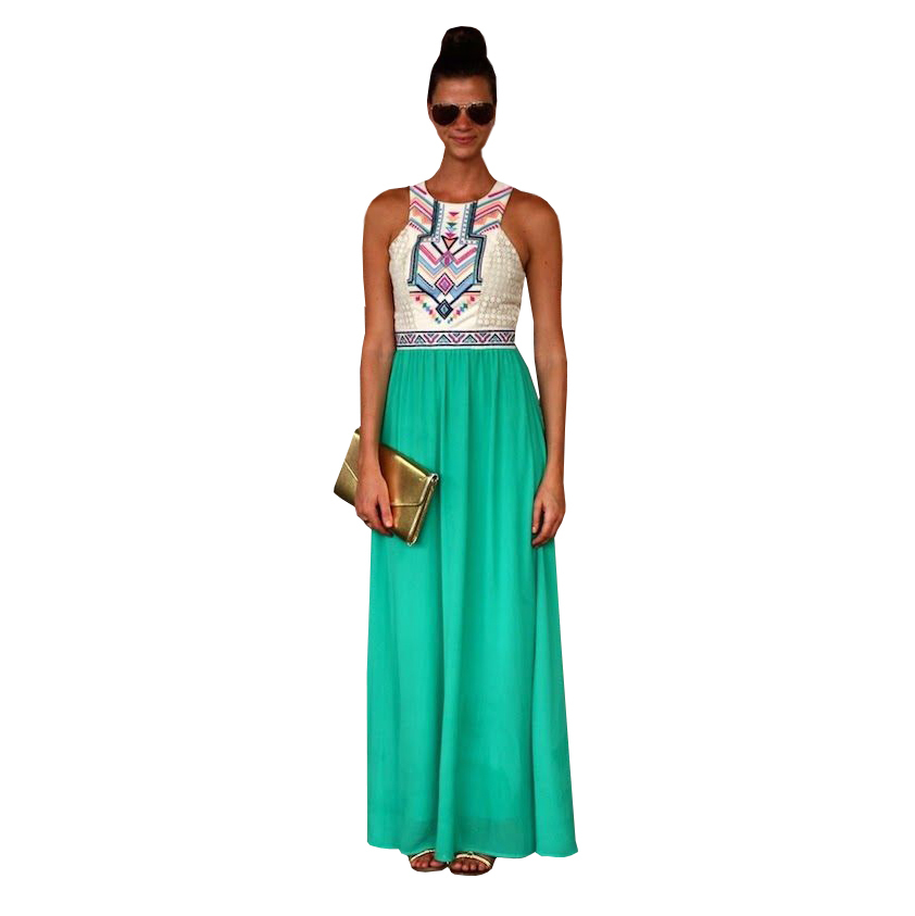 Sale Hot Sale Print Summer Maxi Women Dress 2015 New Fashion Casual Style Sleeveless Long